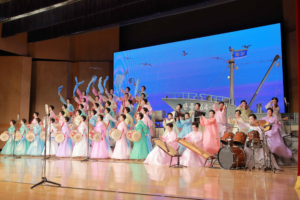 Kim Jong Un Enjoys Art Performance Given by KPA Officers' Wives
