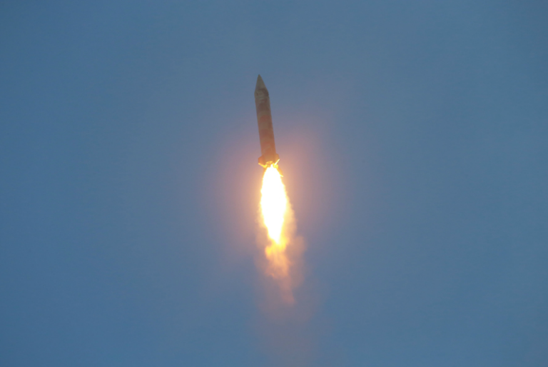 blue flame rocket kim jong un guides successful drill for ballistic rocket fire