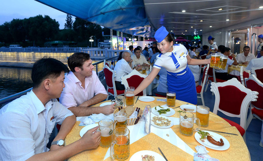 At the Taedonggang Beer Fest