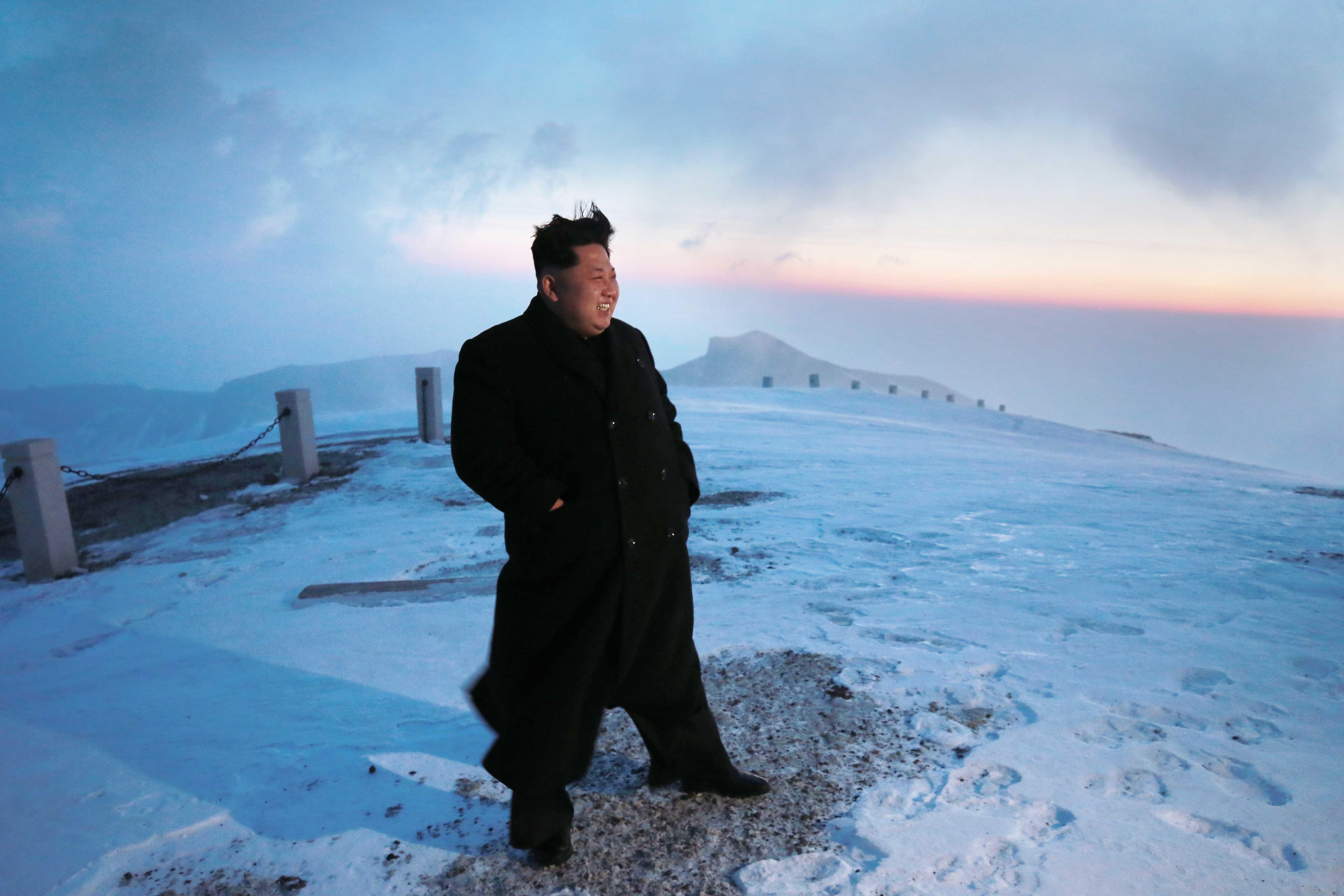 Supreme Leader Kim Jong Un at the top of the Mount Paektu