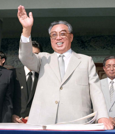 President Kim Il Sung acknowledges enthusiastic cheers of the people in September 1988.