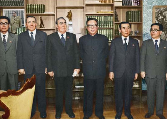 Kim Il Sung poses for a photograph with L. I. Brezhnev, General Secretary of the Communist Party of the Soviet Union [May Juche 69 (1980)].