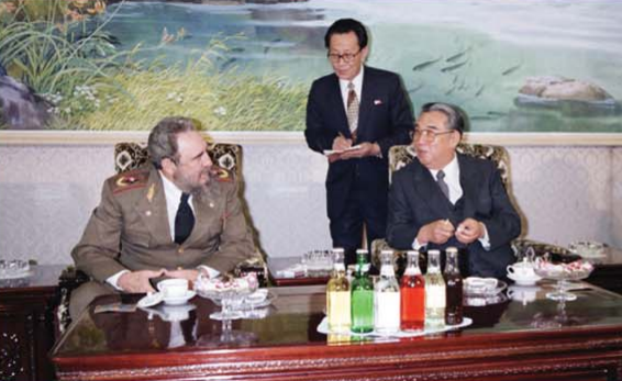 Kim Il Sung talks with Fidel Castro Ruz, President of the Council of State and the Council of Ministers of the Republic of Cuba [March Juche 75 (1986)].