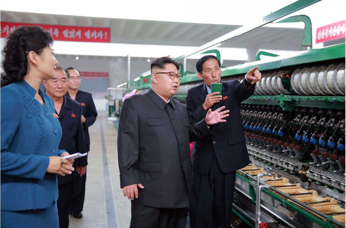 The respected Supreme Leader Kim Jong Un visits the Pyongyang Kim Jong Suk Silk Mill [June Juche 105 (2016)].