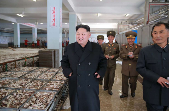 The respected Supreme Leader Kim Jong Un inspects the August 25 Fishery Station of the Korean People's Army [November Juche 105 (2016)].