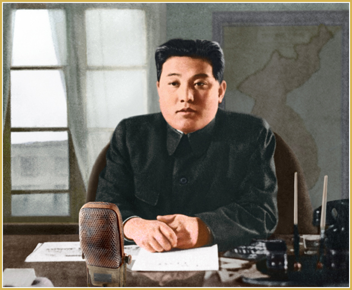 Kim Il Sung delivers a radio address to the Korean people (June 1950).
