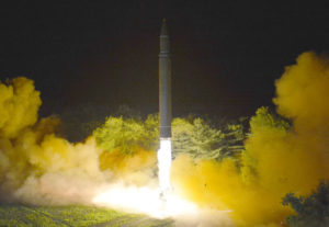 The successful second round of test fire of intercontinental ballistic missile Hwasong 14 on July 28, 2017.