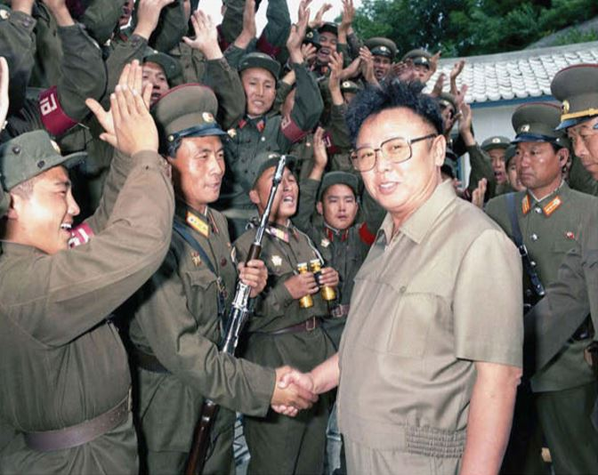 Kim Jong Il among KPA service personnel at a frontline post [September Juche 84 (1995)]