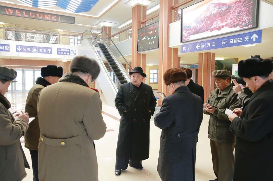 The respected Supreme Leader Kim Jong Un visiting the Samjiyon Youth Railway Station nearing completion [December Juche 106 (2017)