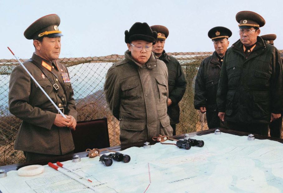 Kim Jong Il  inspecting the KPA unit defending Cho Island, a frontline post on the West Sea of Korea