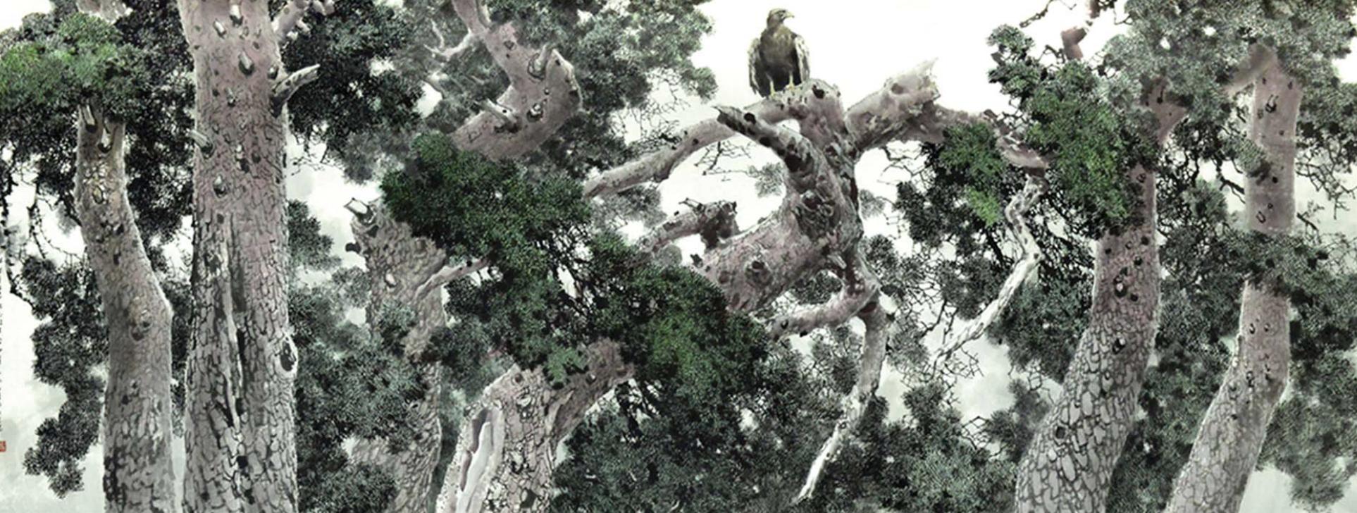 Korean painting Pine Tree and Goshawk